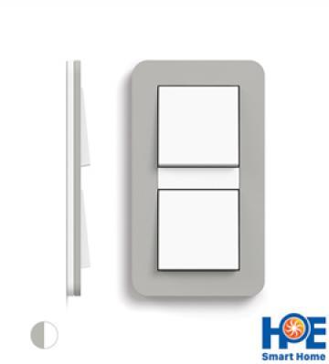 Bộ 2CT đơn Gira E3 màu Grey soft touch và pure white glossy