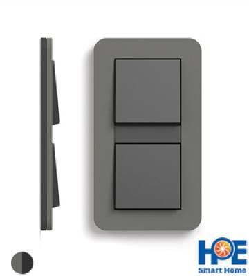 Bộ 2CT đơn Gira E3 màu Dark grey soft touch và anthracite