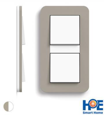 Bộ 2 CT ĐƠN Gira E3 màu Grey beige soft touch + white glossy