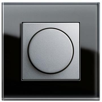 Bộ dimmer 400W màu Aluminium-Khung đơn Esprit Glass Black Gira