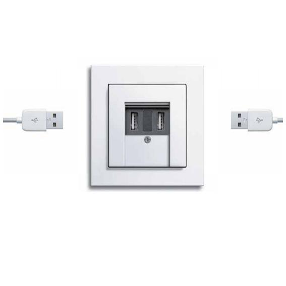 Gira USB power supply, 2-gang Gira E2, pure white glossy