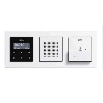 Gira RDS radio with docking station, Gira E2, pure white glossy.