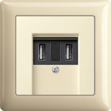 Bộ cấp nguồn cổng USB kem bóng Gira